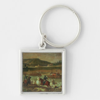 Hunting in the Forest at Compiegne Silver-Colored Square Keychain