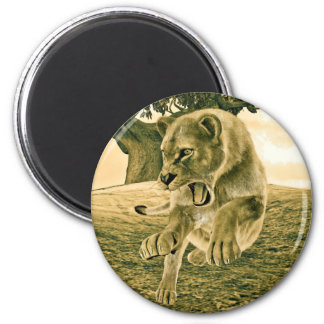 Hunting Lioness 2 Inch Round Magnet