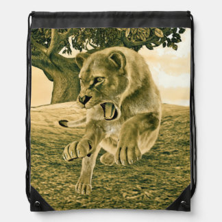 Hunting Lioness Drawstring Backpack