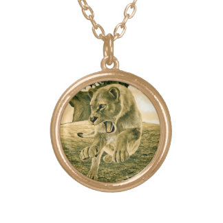 Hunting Lioness Gold Plated Necklace