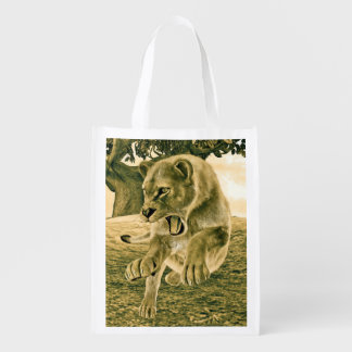 Hunting Lioness Grocery Bag