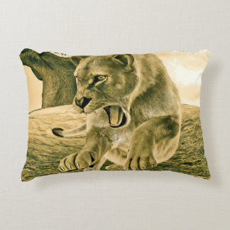 Hunting Lioness Accent Pillow