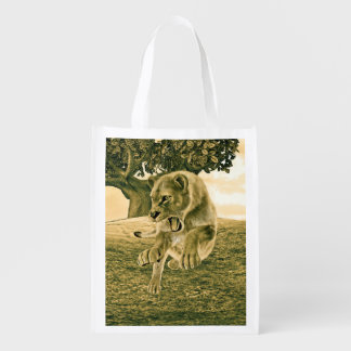 Hunting Lioness Reusable Grocery Bag