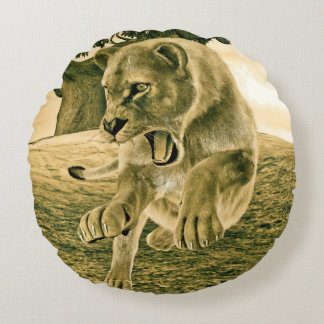 Hunting Lioness Round Pillow