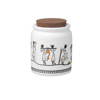Hunting Peoples Saura Tribal Painting Candy Jar