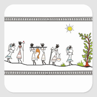 Hunting Peoples Saura Tribal Painting Sticker