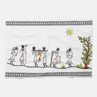 Hunting Peoples Saura Tribal Painting Towel