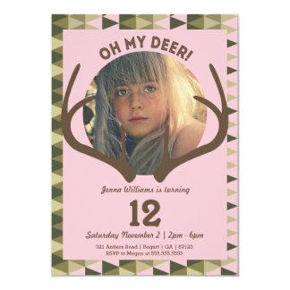 Hunting Pink Camo Girl's Antlers Birthday Card