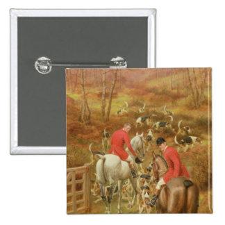 Hunting Scene, 1906 2 Inch Square Button