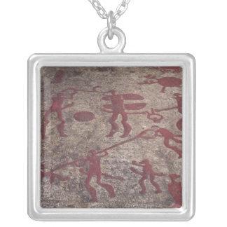 Hunting scene square pendant necklace