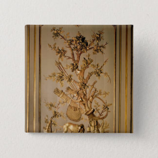 Hunting scene, wood panelling from dining room pinback button