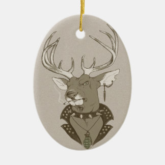 Hunting Season Double-Sided Oval Ceramic Christmas Ornament