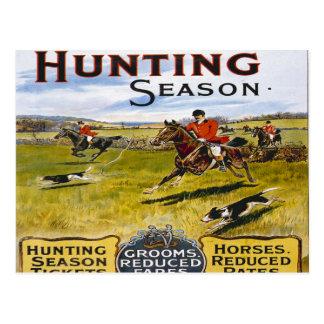 hunting season vintage horse hunt retro postcard
