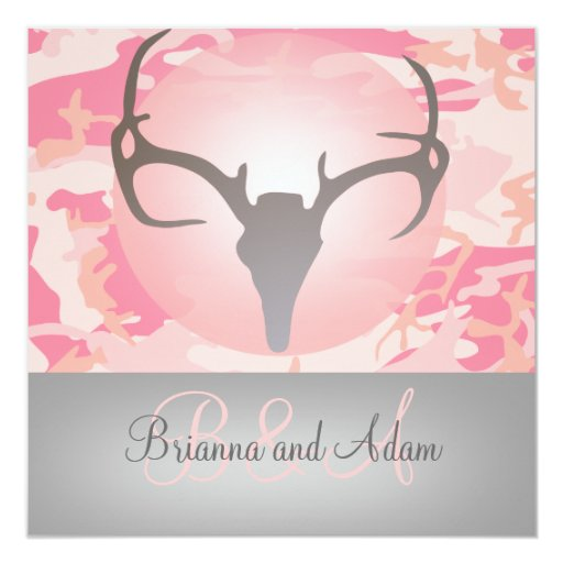 "Hunting Theme Antlers and Camo Wedding Invitation 5.25"" Square Invitation Card"