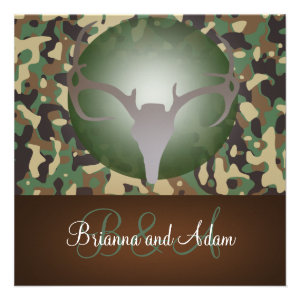 Hunting Theme Antlers and Camo Wedding Invitation
