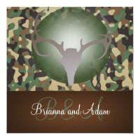 Hunting Theme Antlers and Camo Wedding Invitation (<em>$2.26</em>)