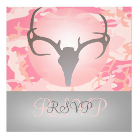 Hunting Theme Antlers and Camo Wedding RSVP Personalized Invitation
