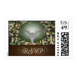 Hunting Theme Antlers Camo Wedding RSVP Postage Stamp