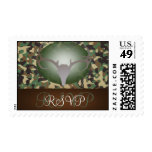 Hunting Theme Antlers Camo Wedding RSVP Stamps