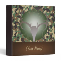 Hunting Theme Deer Antlers Green Speckled Camo 3 Ring Binder