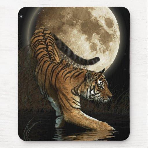 Hunting Tiger & Full Moon Wildlife Art Mousepads