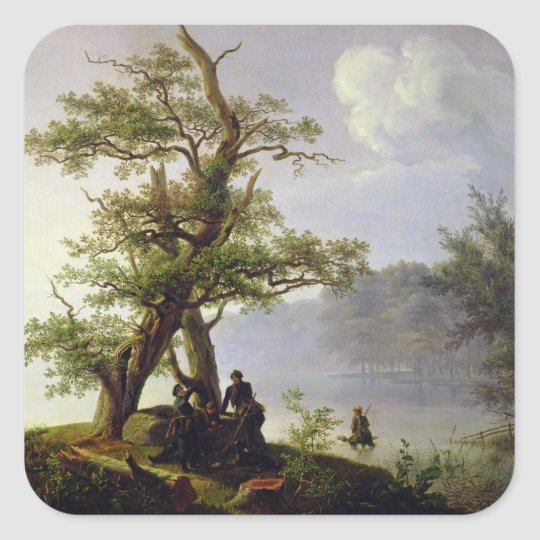 Hunting Waterfowl, 1828 Square Sticker