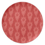 HUNTING WEIMARANER RED FLORAL ON RED  PLATE