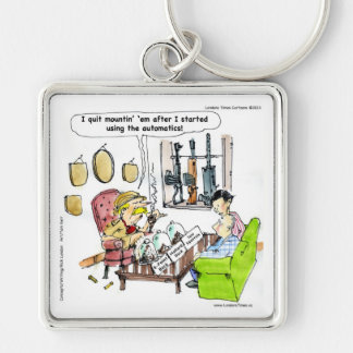 Hunting With Automatics Funny Gifts & Tees Silver-Colored Square Keychain