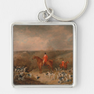 Hunting With Dogs and Horse Famous Oil Painting Silver-Colored Square Keychain