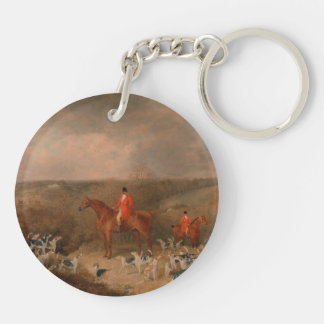 Hunting With Dogs and Horse Famous Oil Painting Double-Sided Round Acrylic Keychain