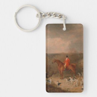 Hunting With Dogs and Horse Famous Oil Painting Single-Sided Rectangular Acrylic Keychain