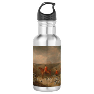 Hunting With Dogs and Horse Famous Oil Painting 18oz Water Bottle