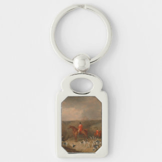 Hunting With Dogs and Horse Famous Oil Painting Silver-Colored Rectangular Metal Keychain