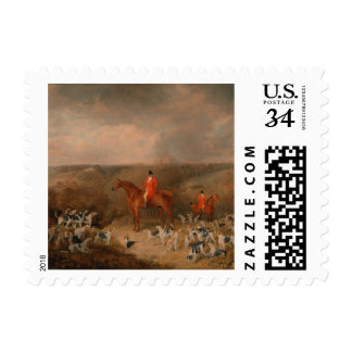 Hunting With Dogs and Horse Famous Oil Painting Postage