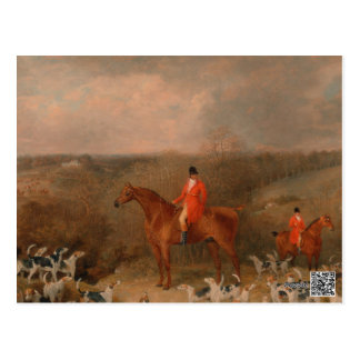 Hunting With Dogs and Horse Famous Oil Painting Postcard