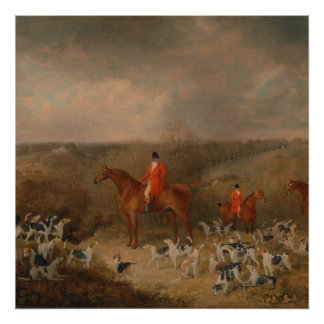 Hunting With Dogs and Horse Famous Oil Painting Poster