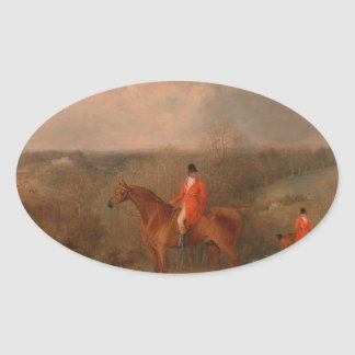 Hunting With Dogs and Horse Famous Oil Painting Oval Sticker