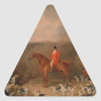 Hunting With Dogs and Horse Famous Oil Painting Triangle Sticker