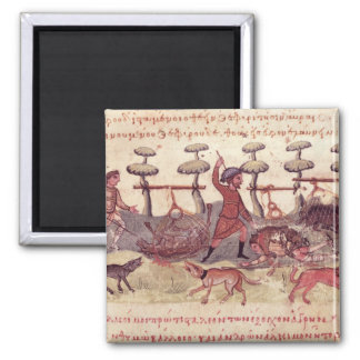 Hunting with Nets 2 Inch Square Magnet