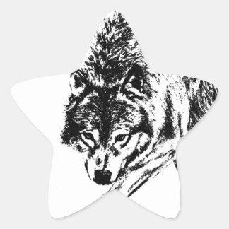 Hunting Wolf Star Sticker