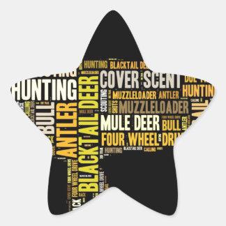 Hunting Word Cloud Star Sticker