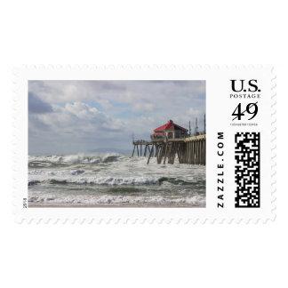 Huntington Bch Pier, CA Postage Stamp
