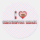 Huntington Beach, CA Etiqueta Redonda