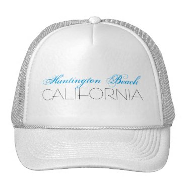 Beach Themed Huntington Beach, CALIFORNIA Blue and Black Trucker Hat
