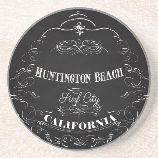 Huntington Beach, California - ciudad de la resaca Posavasos Manualidades