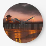 Huntington Beach California Pier at Sunset Photo Clock