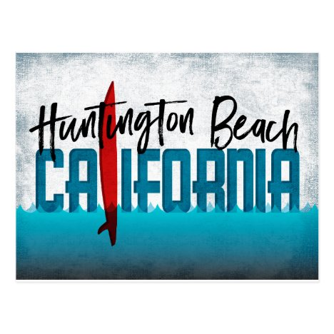 Huntington Beach California Surfboard Surfing Postcard