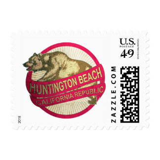 Huntington Beach California vintage bear stamps