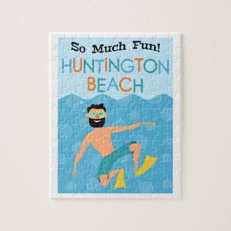Huntington Beach Fun Hipster Travel Jigsaw Puzzle