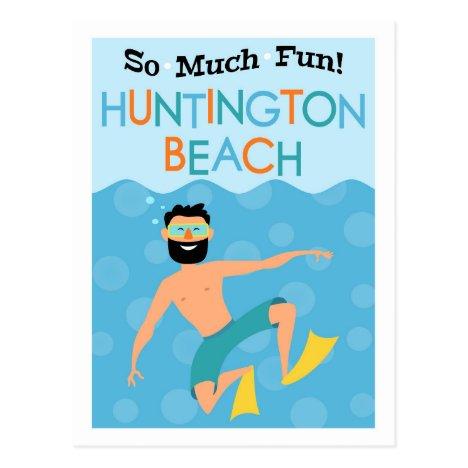 Huntington Beach Fun Hipster Travel Postcard